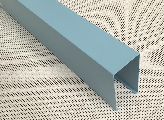 Blue Powder Coated Aluminum U Shaped Linear Metal Ceiling Width 50mm Height 100mm