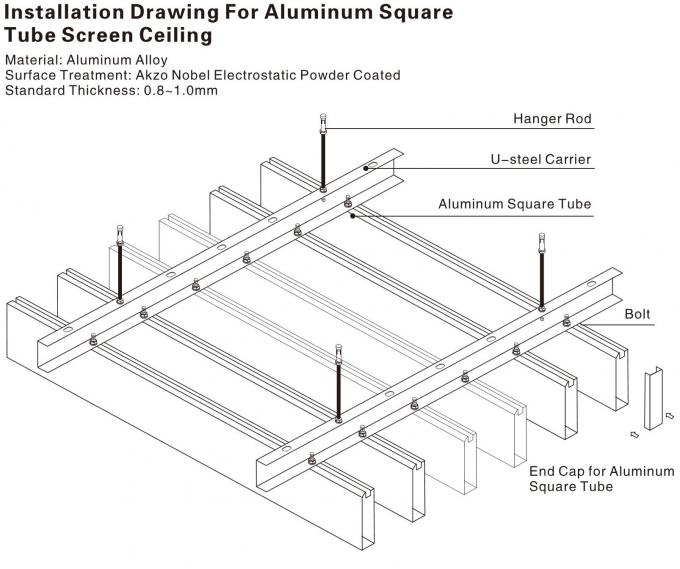 false square pipe linear metal ceiling panel black